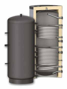 Ballon accumulateur chauffage avec double échangeurs
