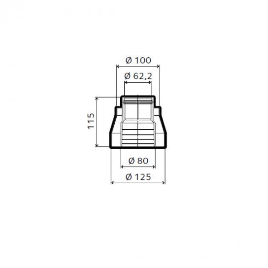 Adaptateur diam 80/125 - 60/100 pour chaudières condensation Chaffoteaux